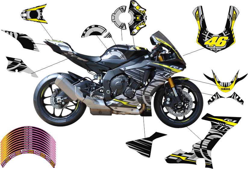 motorradaufkleber bikedekore wheelskinzz yamaha r1 rn32 15 17 rossi dsg dekor stickerkit. Black Bedroom Furniture Sets. Home Design Ideas