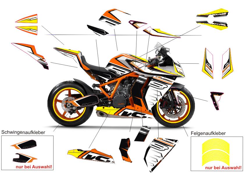 Motorradaufkleber bikedekore wheelskinzz dekor ktm for Gelbsticker gegen fliegen
