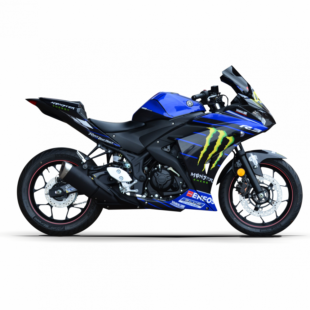 "YAMAHA YZF R3 15-18 ""Rossi Replica Monster Energy 2019"" Dekor Stickerkit"