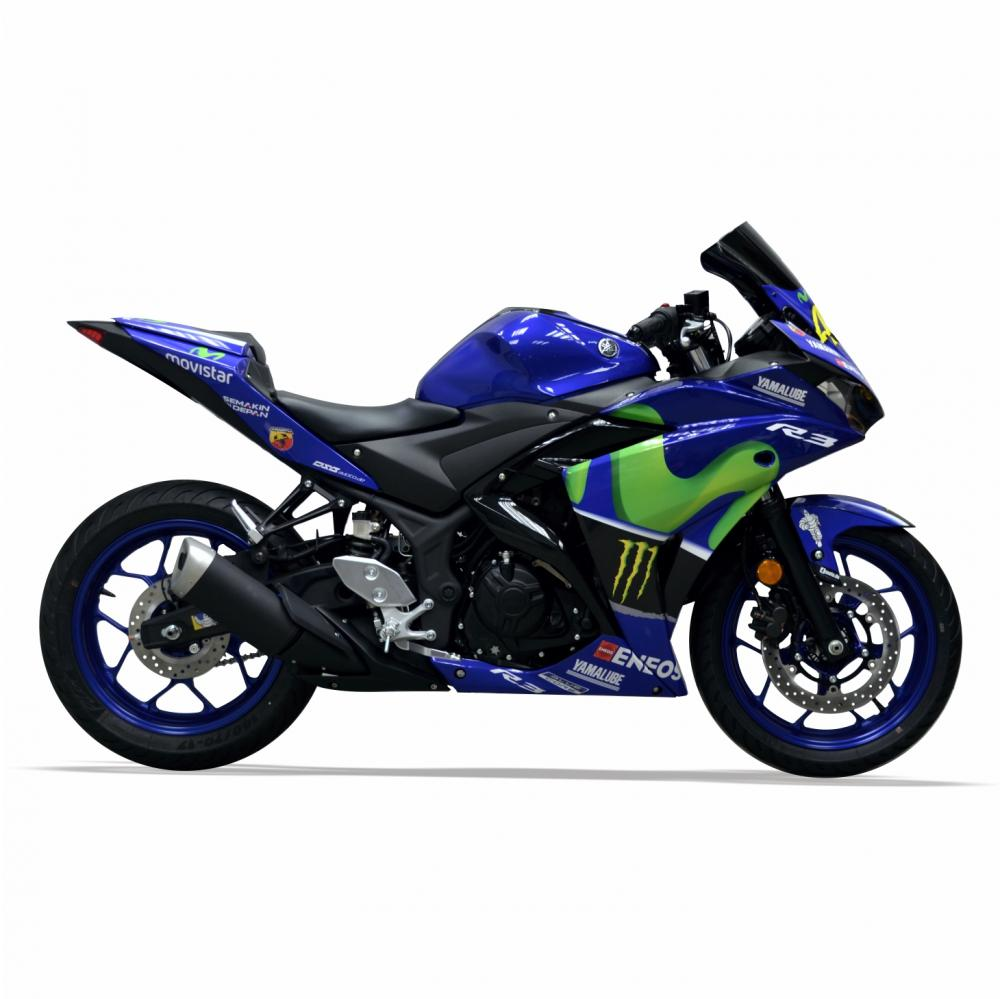"YAMAHA YZF R3 17- ""Rossi Replica Movistar"" Dekor Stickerkit"