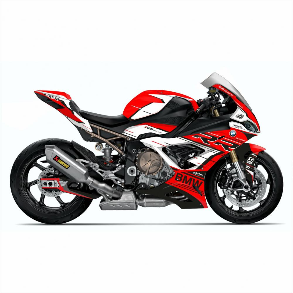 "BMW S1000RR 2019- Graphics Stickerkit ""RACESTP"" red/white"