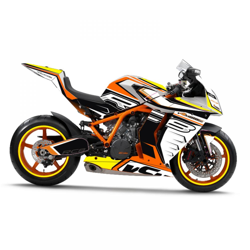 KTM RC8 1190 08-15 Dekor Stickerkit Fluoyellow & Chrom