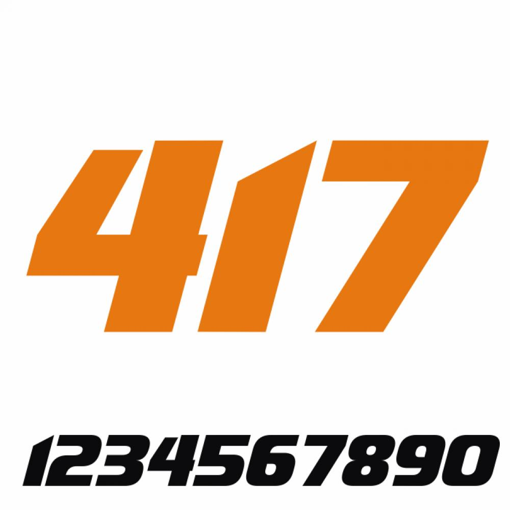 Start Number - Sticker Decal Three Number V3