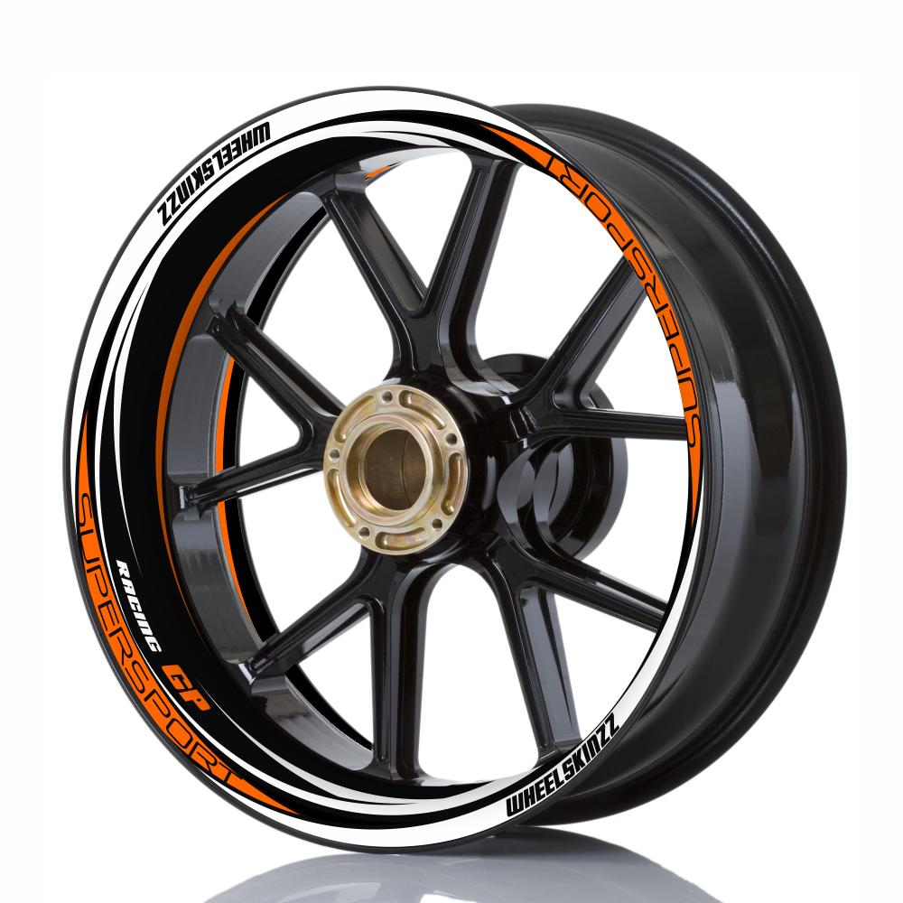 "Wheelskinzz® ""Racing GP"" Schwarz/Weiß/Orange"