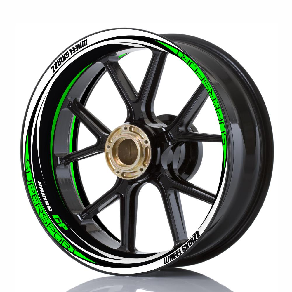 "Wheelskinzz® ""Racing GP"" Black/White/Green"