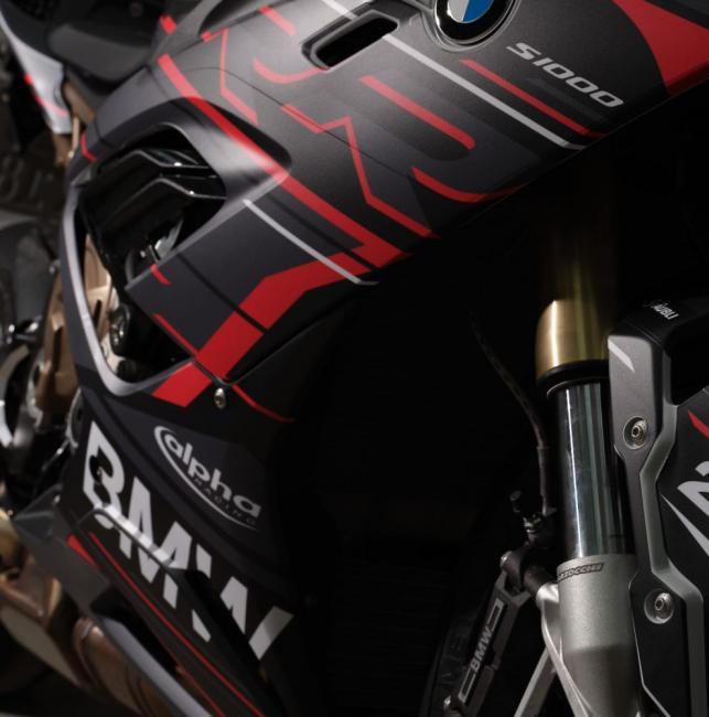 "BMW S1000RR 2019- Graphics Stickerkit ""RACESTP"" black/red/white"